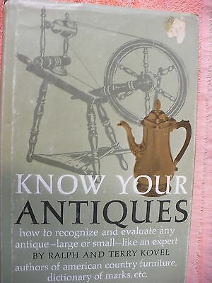 PW- KNOW YOUR ANTIQUES BY RALPH AND TERRY KOVEL  (1972, Hardcover) Book #31982