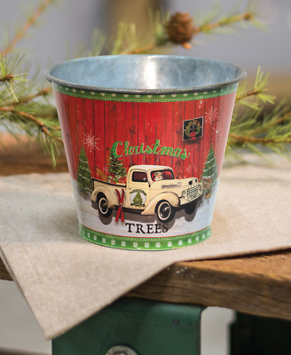 """Christmas Trees, Vintage Truck Small Galvanized Metal Country Bucket  - 4"""" Tall"""