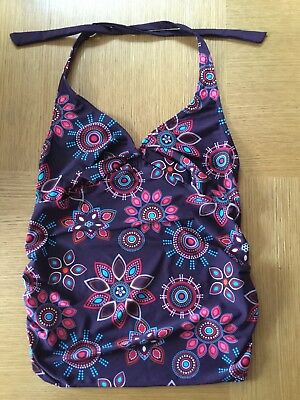 Ladies Mothercare Purple Print Maternity Tankini Top Uk 10