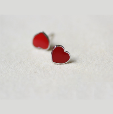 9aed37443 925 Sterling Silver Stud Earrings With Red Enamel Heart Charm Jewelry Gift  PE25