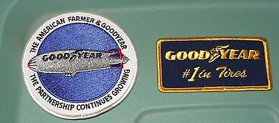 Goodyear Tires The American Farmer & Blimp Patches Patch Iron Sew On Lot of 2