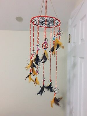 Handcrafted Large Descending Dream Colorful Dreamcatcher With Bells (Wind Chime)
