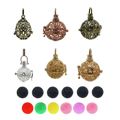 6pcs Mix Pearl Cage Alloy Locket DIY Pendant Aromatherapy Essential Oil Diffuser