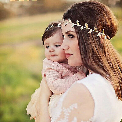 2PCS Baby Girl Elastic Toddler&Mom Leaf Headband Headwear Hair Band Accessories