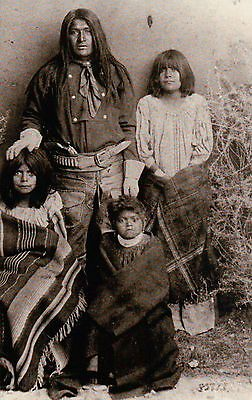 """ Captain Jack & Family "" Modoc Indian, Edward Canby -- Native American Postcard"