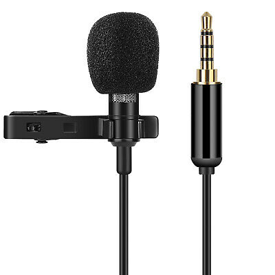 Lavalier Lapel Microphone, Noise Cancelling Clip-on Condenser Mic  w/ 3.5mm Jack