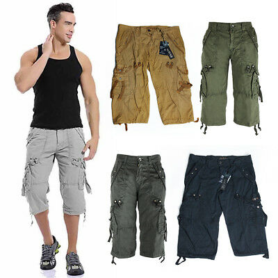 Men's Casual Shorts Army Combat Camouflage Pants 3/4 Work Cargo Pants Cotton Bot