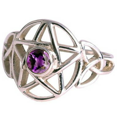 RING: SIZE 9 PENTAGRAM & AMETHYST - 925 SILVER  - Wicca Pagan Witch Goth Occult