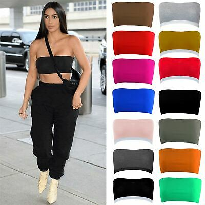 d8c1a52ecd Ladies Womens Plain Ribbed Strapless BoobTube Bandeau Stretch Bra Vest Crop  Top
