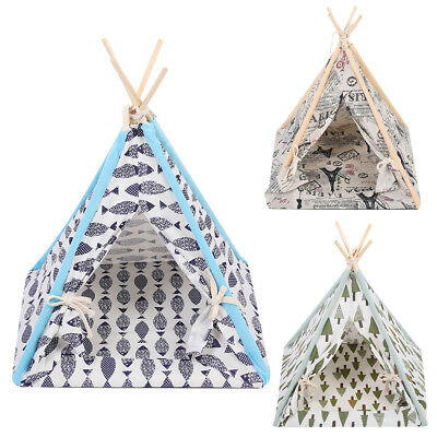 Portable Folding Linen Pet Tent Dog House Bed Washable Puppy Cat Play Teepee Mat