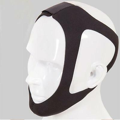 Black Anti Snoring Chin Strap Belt Stop Snore Device Jaw Support Solution ED#UK