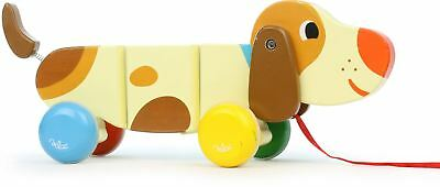 Vilac BASILE THE DOG PULL-ALONG TOY Baby/Toddler Wooden Animal Walking Pet BN