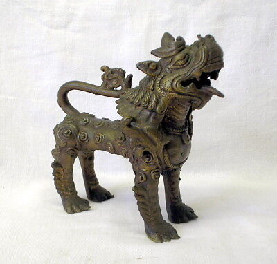 Antique Nepalese brass Foo Dog, Fu Dog, E. Asian Guardian Lion, protection charm
