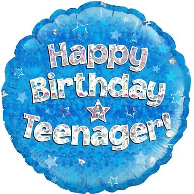 Happy Birthday Teenager Blue Holographic Helium Balloon - 18 Foil Balloons