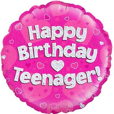 Happy Birthday Teenager Pink Holographic Helium Balloon - 18 Foil Balloons