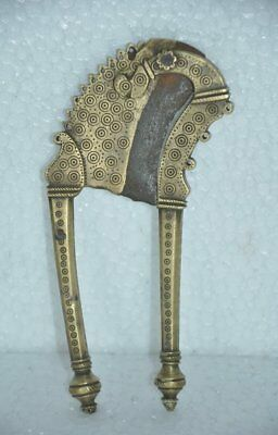 Old Brass Unique Shape Circles Engraved Solid Heavy Betel Nut Cutter