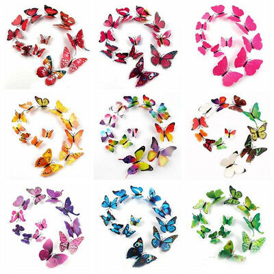12pcs Magnet 3D Colorful Butterfly Sticker Art Decal Wall Decals Kids Home Decor