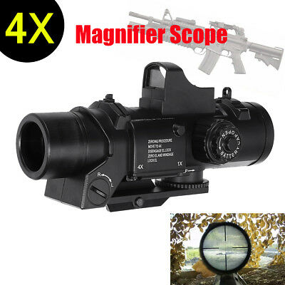 4X Red Dot Sight Tactical Magnifier Scope Primary Hunting For Gel Ball Blaster