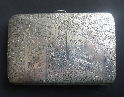 Super Engraved Antique Victorian English Sterling Silver Card Case, S Mordan