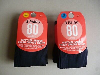 3 Pairs 80 Denier  Appearance Weather Sensor Finish Opaque With Lycra Tights