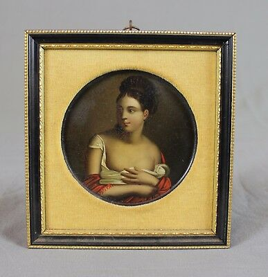 19th Century Miniature French Portrait Beautiful Young Lady