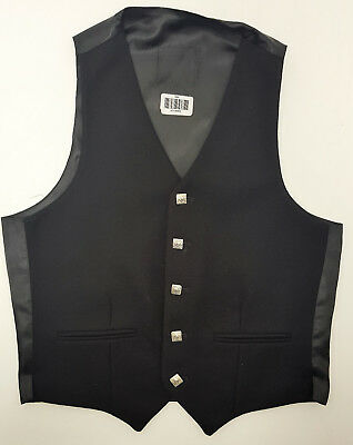 Ex Hire A1 Condition Black Wool Argyll waistcoat vest 4 Kilts SALE 34,36,38,40