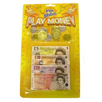 English Notes Pretend Money - Play Coins Fake Toy Childrens Role Kids Shop Cash