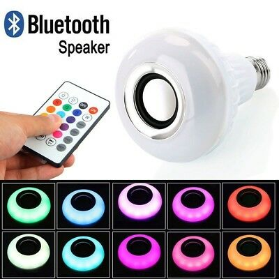LED Wireless Bluetooth Bulb Light Speaker RGB 12W Smart Music Player Lamp+Remote