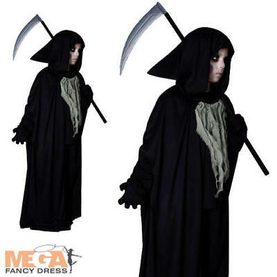 Grim Reaper Boys Halloween Fancy Dress Kids Costume Childs Outfit Ages 4,5,6,7,8