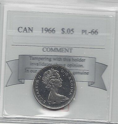 **1966**, Coin Mart Graded, Canadian Five Cent, **PL-66**
