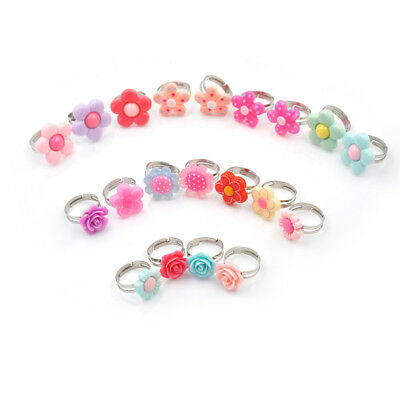 5Pcs Lovely Children Flower Rings Adjustable Jwewlry Kids Fashion Accessories DS