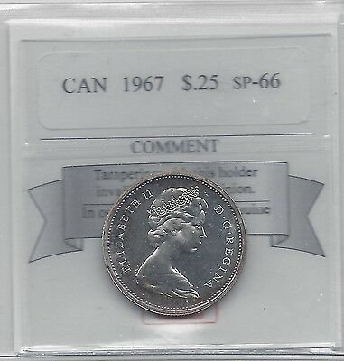 **1967**Coin Mart Graded Canadian, 25 Cent, **SP-66**
