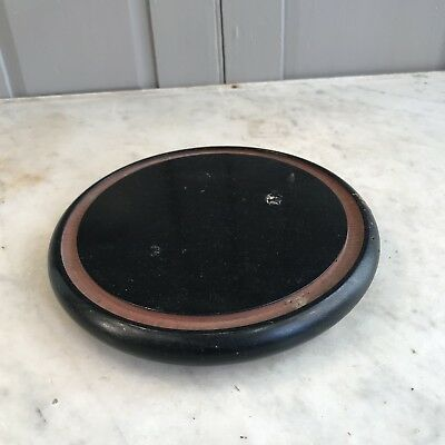 Antique Victorian small wooden circular dome base display stand plateau