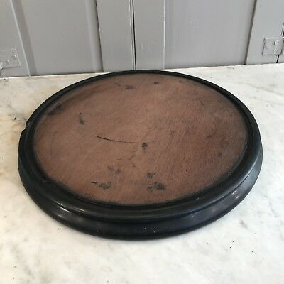 Antique Victorian large wooden circular dome base display stand plateau
