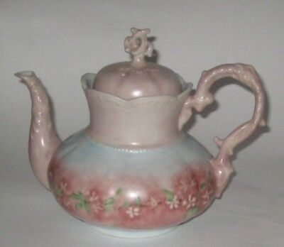 ANTIQUE Lovely HAND Decorated VICTORIAN Era PORCELAIN Teapot w/DELICATE Flowers