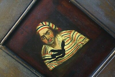 18th English Naive School, Sailor Oil on Board Antique Curio Naval Folk Art