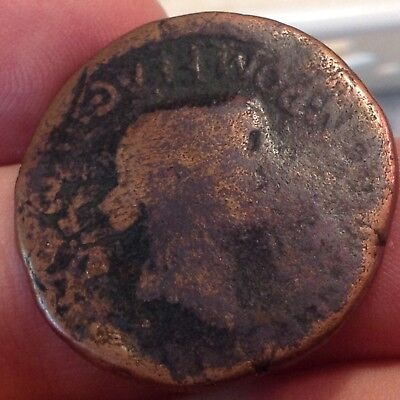 Metal Detector find-Ancient Bronze Roman Coin Emperor Nero and Agrippina ? -26