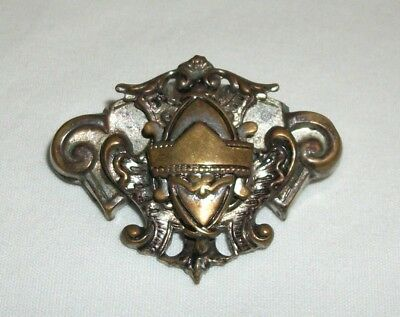 Vintage Ornate Victorian Pin Brooch Plated Brass Crest