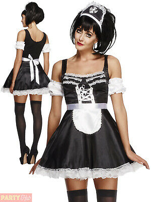 Ladies Fever Flirty French Maid Costume Adults Sexy Hen Party Fancy Dress Outfit