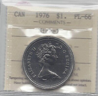 **1976**,ICCS Graded Canadian Nickel Dollar **PL-66**