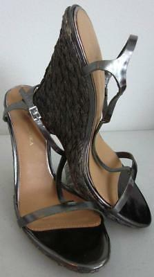 1ab303800853 Badgley Mischka Silver Pewter Braided Woven Rope Sandal Leather Wedge Sz 10  NEW