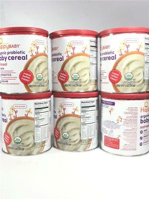 Happy Baby Organic Probiotic Baby Cereal Oatmeal Pack of 6 (7oz Each)