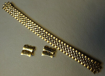 Womens Hirsch Expansion 12-13mm Polished Yellow Gold Tone Watch Band Curved Ends