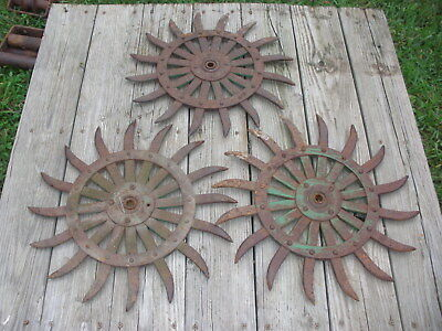 (3) JD Rotary Hoe Wheel Sunflower Yard Garden Wall Art Decor SteamPunk 17-18""