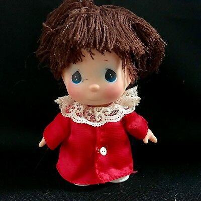 Cute Little Precious Moments Doll in Red Dress