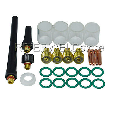 26pk TIG Gas Lens Collet Body #10 Pyrex Cup Kit Fit WP 9 20 25 TIG Welding Torch