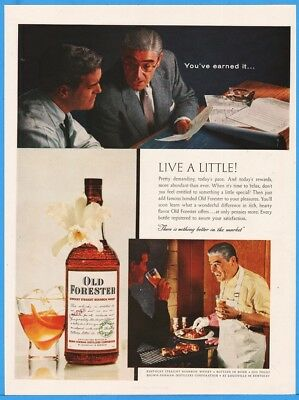 1956 Old Forester Bourbon Whisky Brown Forman Louisville KY You've Earned It Ad