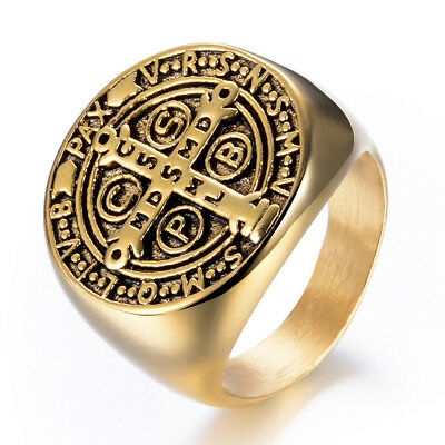 Stainless Steel Gold Plated Antique Style Craft Cross Men's Cool Design Ring M97