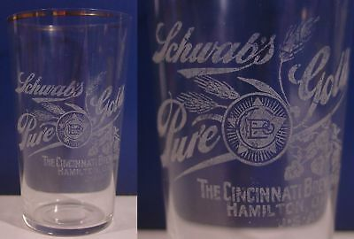 Pre-Pro! SCHWAB'S PURE GOLD -- Hamilton, Ohio -- ETCHED SALOON BEER GLASS