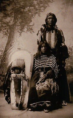 """"""" Brave and Family """" Ute Indian Parents & Child c1898 - Native American Postcard"""